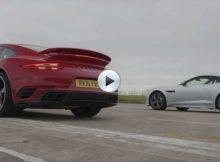 Porsche 911 Turbo S vs Jaguar F type R AWD Cover
