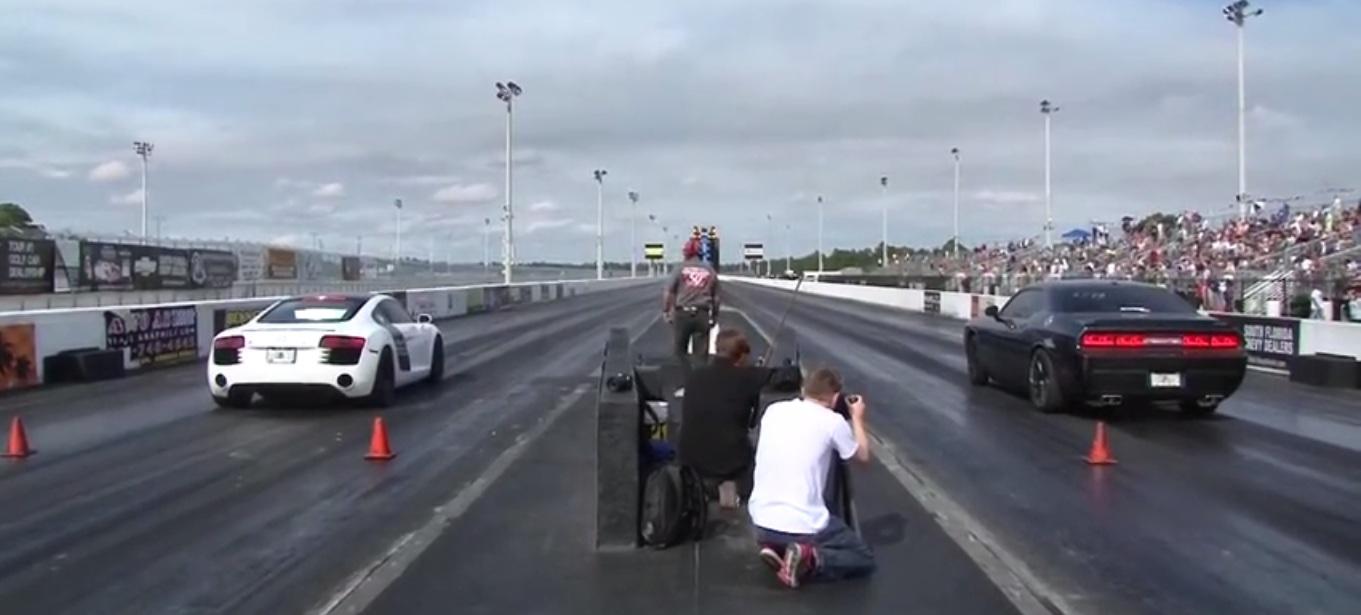 Dodge Challenger Hellcat Vs Audi R V Quarter Mile Drag Race - Audi r8 quarter mile