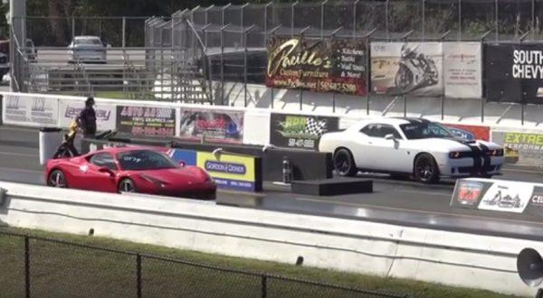Dodge Challenger Hellcat vs Ferrari 458 Italia