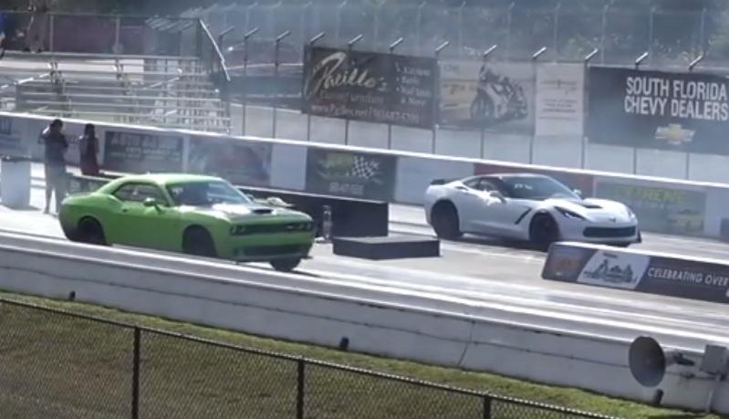 Cheating Hellcat Vs Corvette C7 Stingray Quarter Mile Drag Race